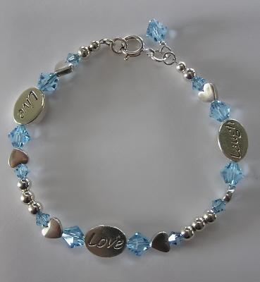 Swarovski Crystal and Sterling  Message Bracelet