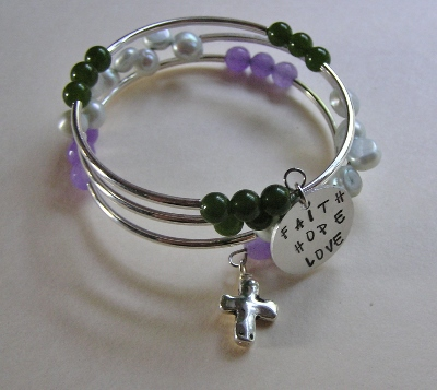 Memory Wire Amethyst and Jade Bracelet