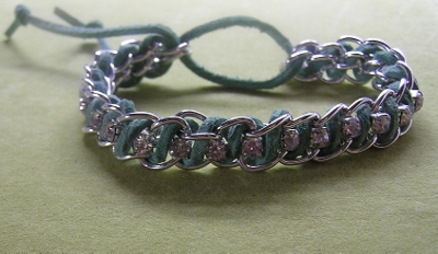 Leather and Rhinestone Bracelet