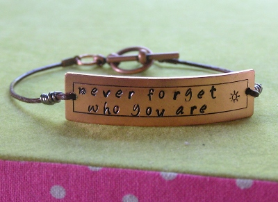 Metal Stamped Copper Bracelet