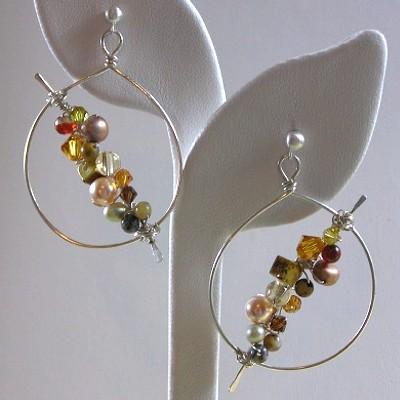 Multi-Gem Hoop Earrings