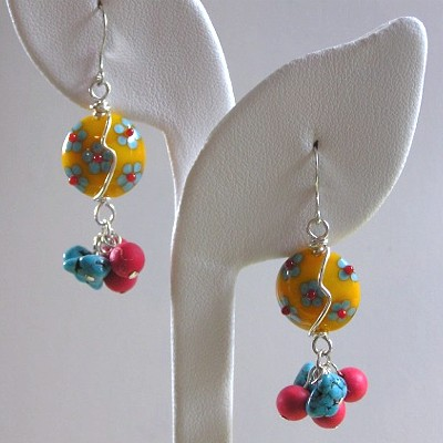 Lampwork, Coral, and Turquoise Earrings
