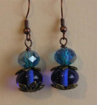 Antique Brass Blue Glass Earrings