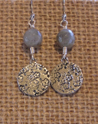 Floral Metal Stamped Earrings With Labradorite