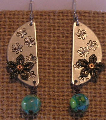 Metal Stamped Riveted Earrings