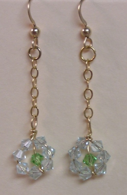 Swaroski Crystal and Gold Earrings