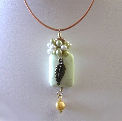 Lime Turquoise Leather Necklace
