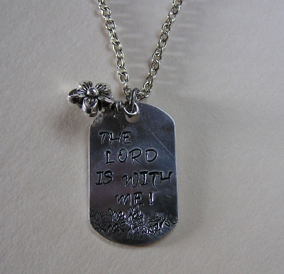 Metal Stamped Religious Pendant Necklace