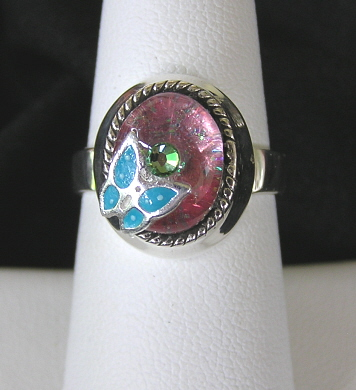Sterling Silver Resin Ring with Enameled Butterfly
