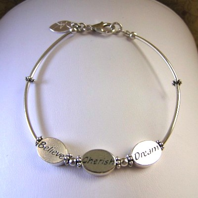 Sterling Silver Message Bracelet