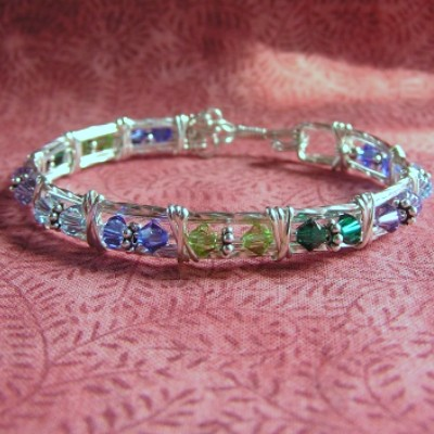 Wire Wrapped Sterling Silver Birthstone Bracelet