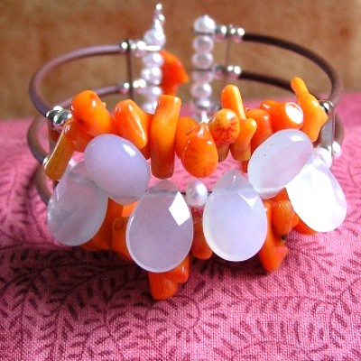 Coral and Chalcedony Bracelet