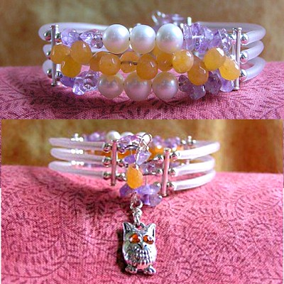 Multi-Strand Bracelet with Swarovski Crystal Owl