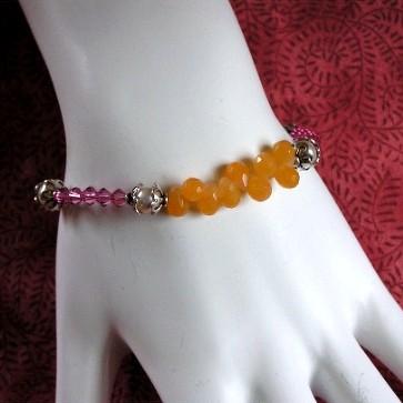 Sterling Silver Jade and Crystal Bracelet