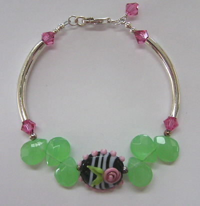 Sterling Silver, Swarovski Crystal and Lampwork Bracelet