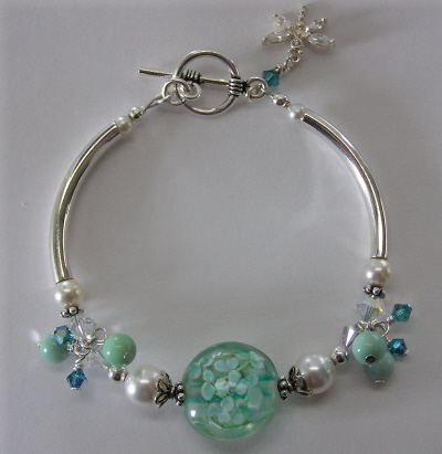 Sterling Silver, Green Opal, Lampwork, and Swarovski Crystal Bracelet