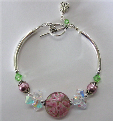 Sterling Silver, Lampwork, and Swarovski Crystal Bracelet