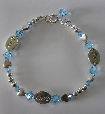 Swarovski Crystal and Sterling  Message Bracelet