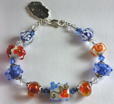 Sterling, Swarovski, and Lampwork Bracelet