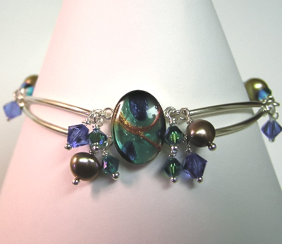 Sterling Silver, Gemstone, Resin Bracelet