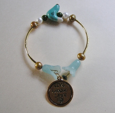 Live Laugh Love Bracelet with Bird