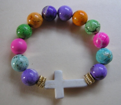Elastic Cross Beaded Bracelet