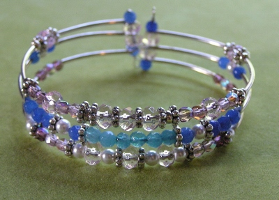 Memory Wire Bracelet with Genuine Gemstones