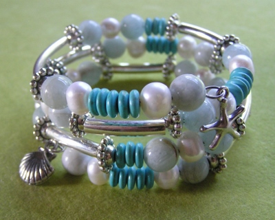 Adjustable Gemstones at the Beach Bracelet