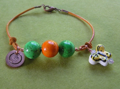 Beaded Leather Bracelet with Butterfly