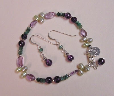 Gemstone Bracelet and Earrings Set