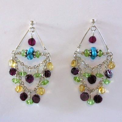 Sterling Silver Chandelier Gemstone Earrings