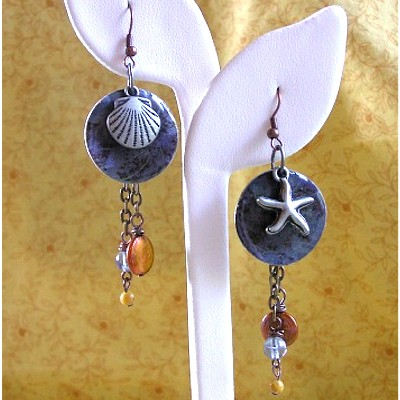Copper, Silver, and Gemstone Earrings