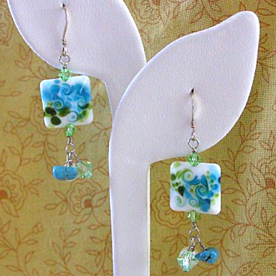 Sterling Silver Lampwork Bead Earrings