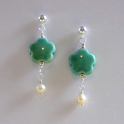Sterling Silver Ceramic and Pearl Earrings