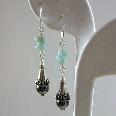 Sterling Silver Hematite and Amazonite Earrings