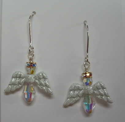 Sterling Silver Swarovski Crystal Angel Earrings