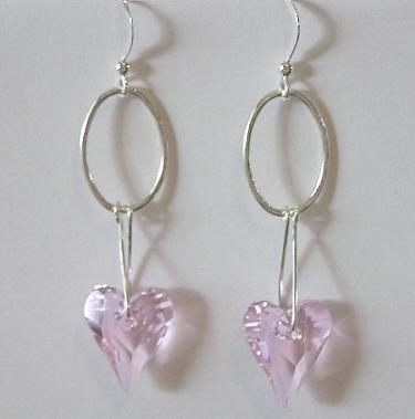 Valentine's Day Heart Earrings in Pink