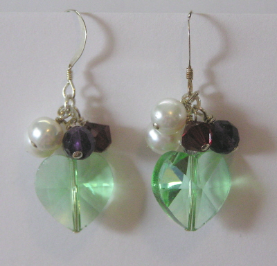 Gemstone and Swarovski Crystal Heart  Earrings
