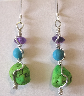 Sterling Silver Turquoise Amethyst Earrings