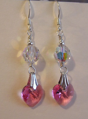 Pretty in Pink Crystal Heart Earrings