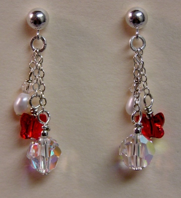 Crystals and Pearls Earrings