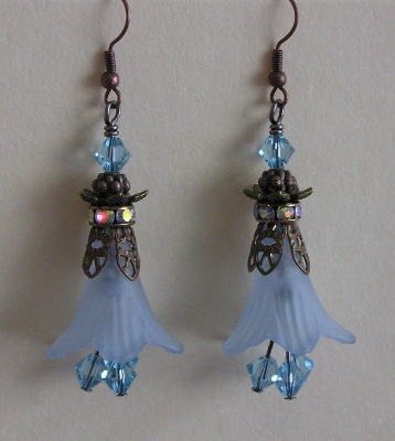 Blue Lucite Petal Earrings With Swarovski Crystals