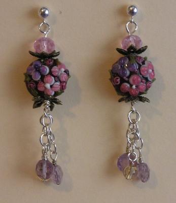 Floral Lampwork Bead Earrings