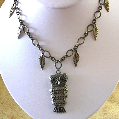 Antiqued Gold Brass Owl Necklace