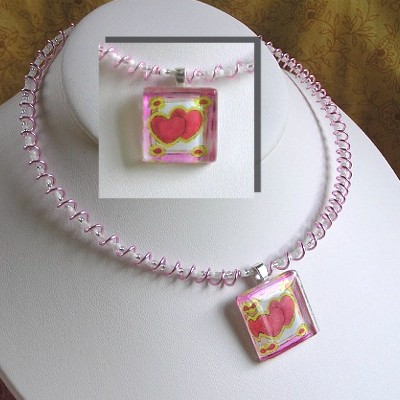 Glass Tile Pendant with Memory Wire Necklace