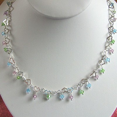 Swarovski Crystal Necklace with Hearts