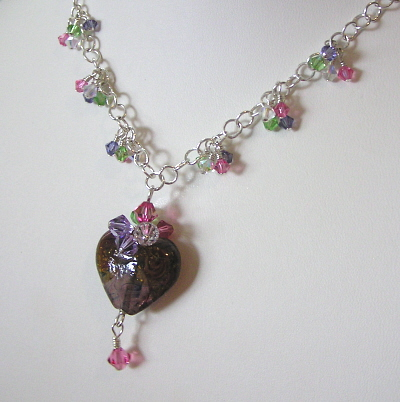 Glass Heart Necklace with Swarovski Crystals