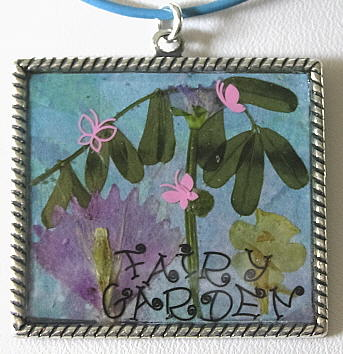 "Sterling Silver ""Garden Fairy"" Art Collage Pendant"
