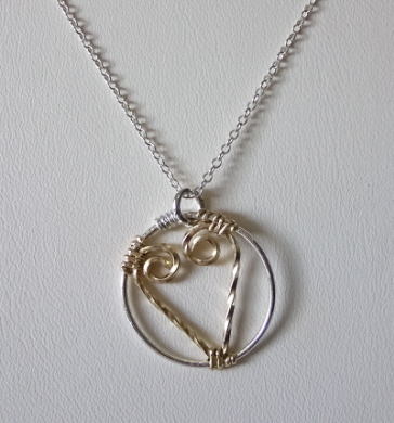 Gold and Sterling Heart Necklace