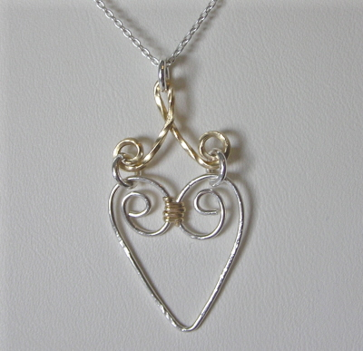 Gold and Sterling Silver Heart Pendant with Chain
